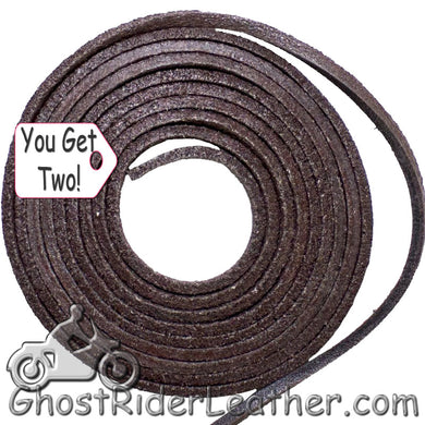 You Get TWO - 6 Foot Lengths of Brown Leather Lacing SKU GRL-CE3-BROWN-X2-GRL - Ghost Rider Leather