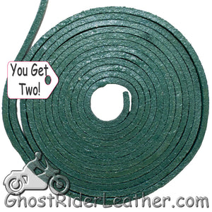 You Get TWO - 6 Foot Lengths of Green Leather Lacing SKU GRL-CE3-GREEN-X2-GRL - Ghost Rider Leather