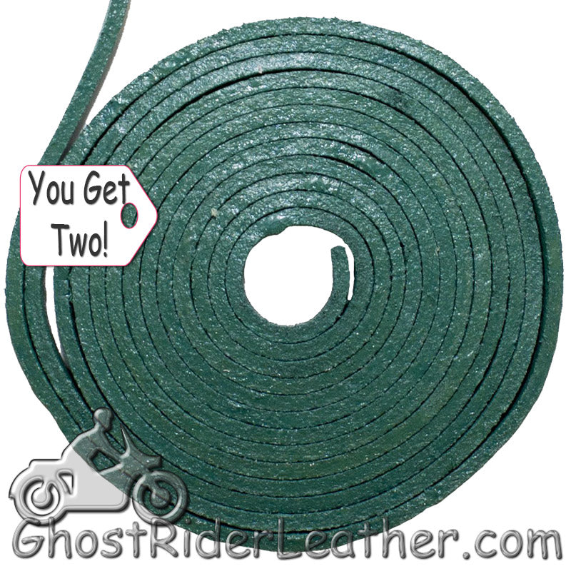 You Get TWO - 6 Foot Lengths of Green Leather Lacing SKU GRL-CE3-GREEN-X2-GRL