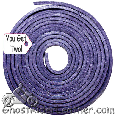 You Get TWO - 6 Foot Lengths of Purple Leather Lacing SKU GRL-CE3-PURPLE-X2-GRL - Ghost Rider Leather