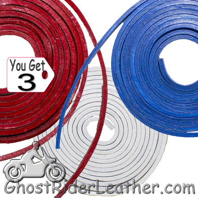 You Get THREE - 6 Foot Lengths of Red - White - Blue Leather Lacing SKU GRL-CE3-RED-WHITE-BLUE-X3-GRL - Ghost Rider Leather