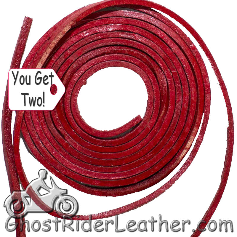 You Get TWO - 6 Foot Lengths of Red Leather Lacing SKU GRL-CE3-RED-X2-GRL - Ghost Rider Leather