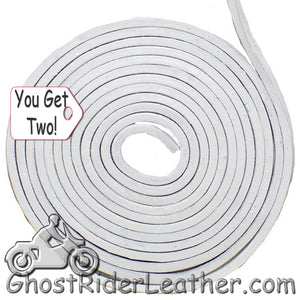 You Get TWO - 6 Foot Lengths of White Leather Lacing SKU GRL-CE3-WHITE-X2-GRL - Ghost Rider Leather