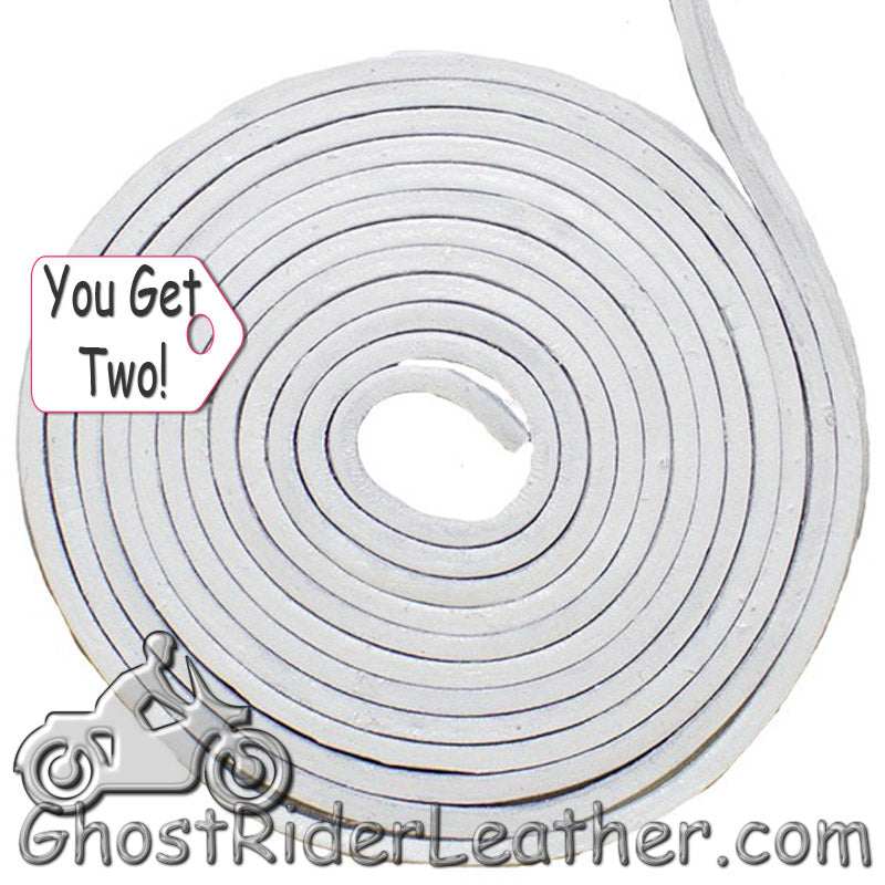 You Get TWO - 6 Foot Lengths of White Leather Lacing SKU GRL-CE3-WHITE-X2-GRL