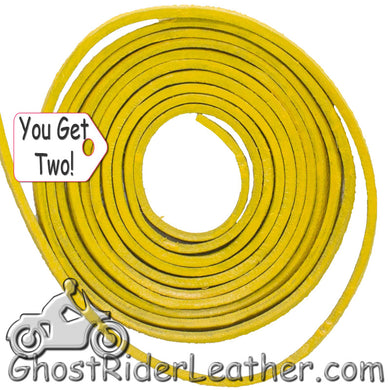 You Get TWO - 6 Foot Lengths of Yellow Leather Lacing SKU GRL-CE3-YELLOW-X2-GRL - Ghost Rider Leather