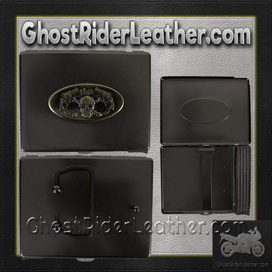Metal Cigarette Case with Skull and Pistols Design on Front - SKU GRL-CG7-DL - Ghost Rider Leather