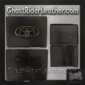 Metal Cigarette Case with Skull and Pistols Design on Front - SKU GRL-CG7-DL-flask-Ghost Rider Leather