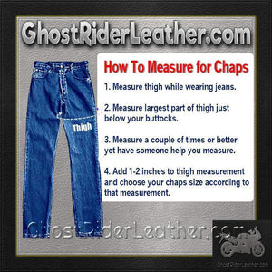 Mens Tall Length Motorcycle Leather Chaps  / SKU GRL-AL2409-TALL-AL - Ghost Rider Leather