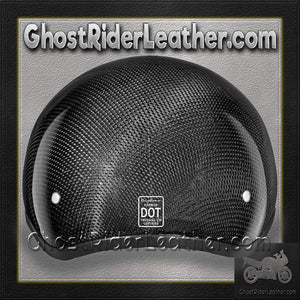Real Carbon Fiber DOT Daytona Skull Cap Motorcycle Helmet With Or Without Visor / SKU GRL-DS-G-GNS-DH-dot motorcycle helmet-Ghost Rider Leather