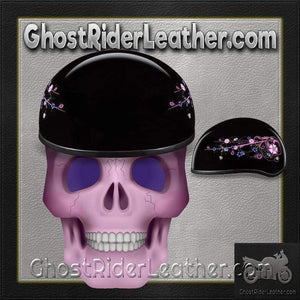 Eagle Style with Flowers DOT Approved Motorcycle Helmet / SKU GRL-D6-FLO-DH-motorcycle helmet-Ghost Rider Leather