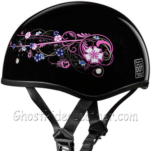 Eagle Style with Flowers DOT Approved Motorcycle Helmet / SKU GRL-D6-FLO-DH - Ghost Rider Leather