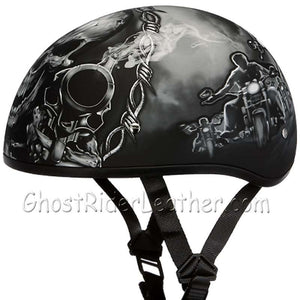DOT Approved Motorcycle Helmet With Skull and Smoking Guns - SKU GRL-D6-G-DH - Ghost Rider Leather