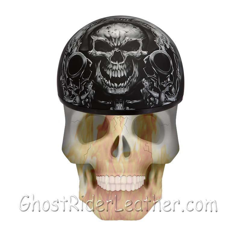 DOT Approved Motorcycle Helmet With Skull and Smoking Guns - SKU GRL-D6-G-DH-motorcycle helmet-Ghost Rider Leather