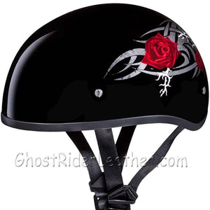 DOT Approved Motorcycle Helmet With Tribal Red Roses - SKU GRL-D6-R-DH-motorcycle helmet-Ghost Rider Leather