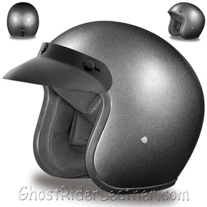 DOT Daytona Cruiser Gun Metal Metallic Open Face Motorcycle Helmet / SKU GRL-DC1-GM-DH - Ghost Rider Leather