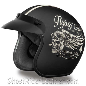 DOT Daytona Cruiser Flying Aces Open Face Motorcycle Helmet / SKU GRL-DC6-FAC-DH - Ghost Rider Leather