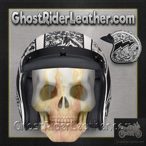 DOT Daytona Cruiser Graffiti Design Open Face Motorcycle Helmet / SKU GRL-DC6-G-DH - Ghost Rider Leather