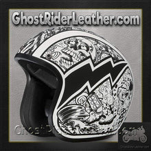 DOT Daytona Cruiser Graffiti Design Open Face Motorcycle Helmet / SKU GRL-DC6-G-DH-dot motorcycle helmet-Ghost Rider Leather