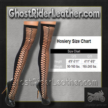 Ladies Black and Red - Sheer and Opaque - With Heart Detail Pantyhose- SKU GRL-1153-EML - Ghost Rider Leather
