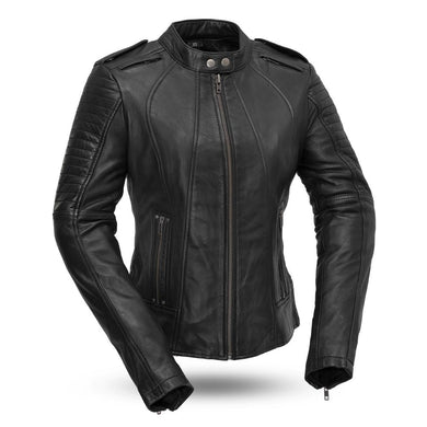 Biker - Women's Leather Motorcycle Jacket - FIL104SDMZ - Ghost Rider Leather