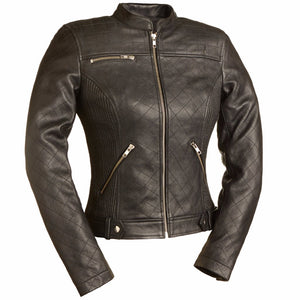 Queen of Diamonds - Women's Motorcycle Leather Jacket - Ghost Rider Leather