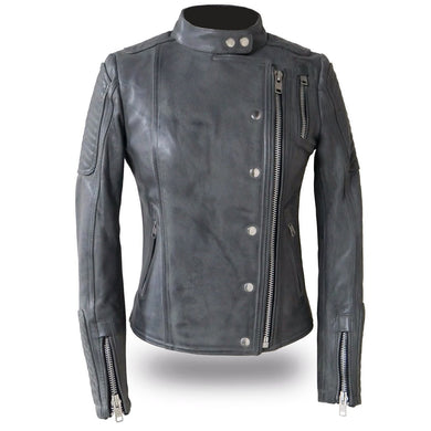 Warrior Princess - Women's Gray or BlackLeather Motorcycle Jacket - FIL187CJZ - Ghost Rider Leather