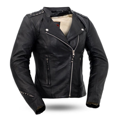 Black Widow - Women's Leather Motorcycle Riding Jacket - FIL191SDMZ - Ghost Rider Leather