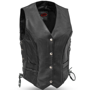 Trinity - Women's Leather Motorcycle Vest With Side Laces - SKU GRL-FIL508CFD-FM - Ghost Rider Leather