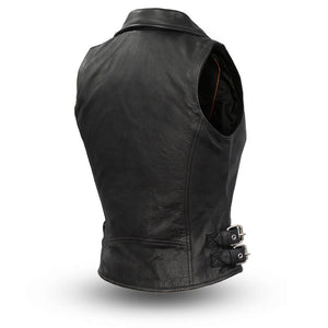 Sexy Goddess - Black Leather Motorcycle Vest for Women - FIL510CCB - Ghost Rider Leather