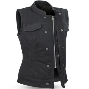 Ludlow - Canvas - Women's Textile Club Style Motorcycle Vest - SKU GRL-FIL516CNVS-FM - Ghost Rider Leather
