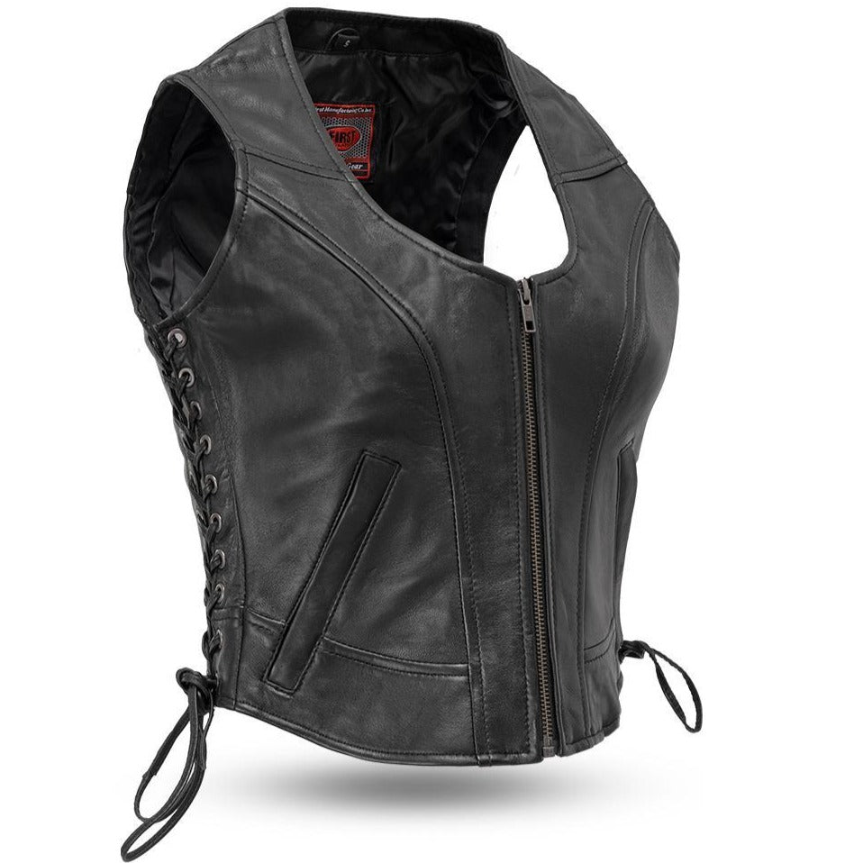 Raven Leather Womens Vest With Side Laces - FIL542GDD - Ghost Rider Leather