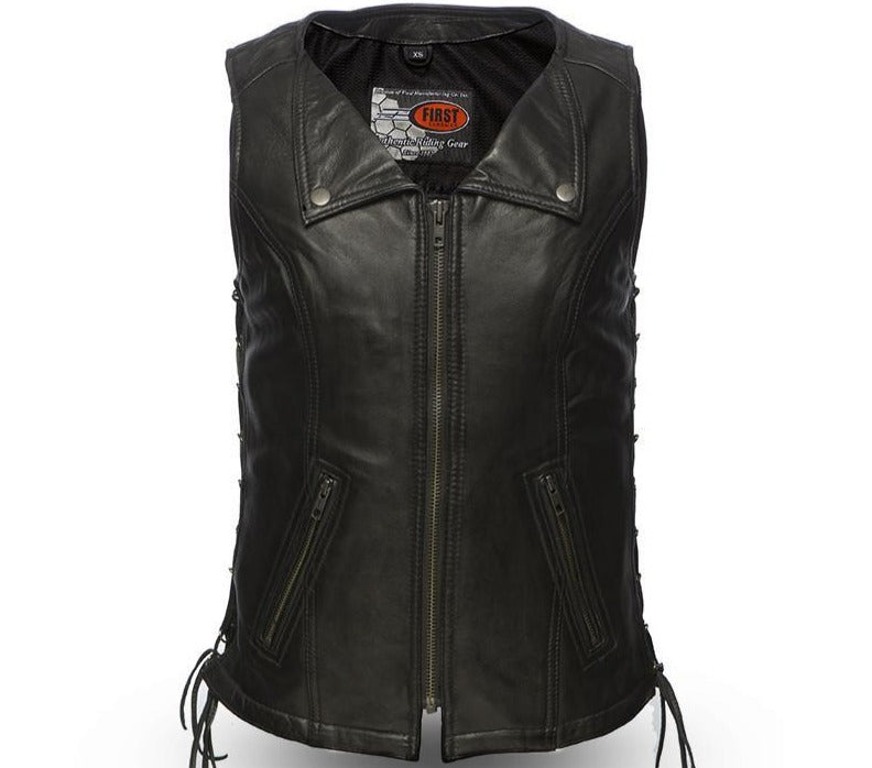 Jenni - Women's Zipper Front Leather Riding Vest - FIL574SDM - Ghost Rider Leather