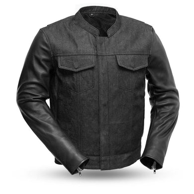 Cutlass Denim / Leather Motorcycle Jacket - FIM266DML - Ghost Rider Leather