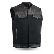 49/51 Men's Leather & Canvas Vest Combo - FIM4951CNV-C - Ghost Rider Leather