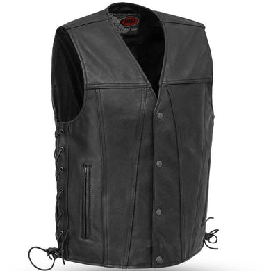 Gambler - Men's Leather Motorcycle Vest - Sizes Up To 8XL - SKU GRL-FIM618CFD-FM - Ghost Rider Leather