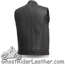 Mens Motorcycle Club Naked Leather Vest -Up To Size 8XL - USA Flag Lining - SKU GRL-FIM684CDM-FM - Ghost Rider Leather
