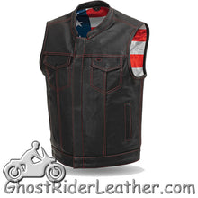 Mens Motorcycle Club Naked Leather Vest With Zipper - USA Flag Lining - SKU GRL-FIM684CDM-FM - Ghost Rider Leather