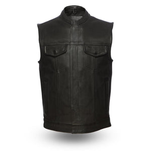Hotshot - Men's Motorcycle Leather Vest - FIM686CPM - Ghost Rider Leather