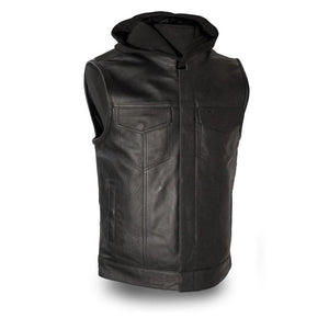 Assassin  |  Mens Leather Motorcycle Vest with Hood - FIM687CSL - Ghost Rider Leather