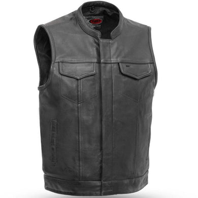 Sharp Shooter - Men's Motorcycle Leather Vest - Up To 8X - SKU GRL-FIM689NOC-FM - Ghost Rider Leather