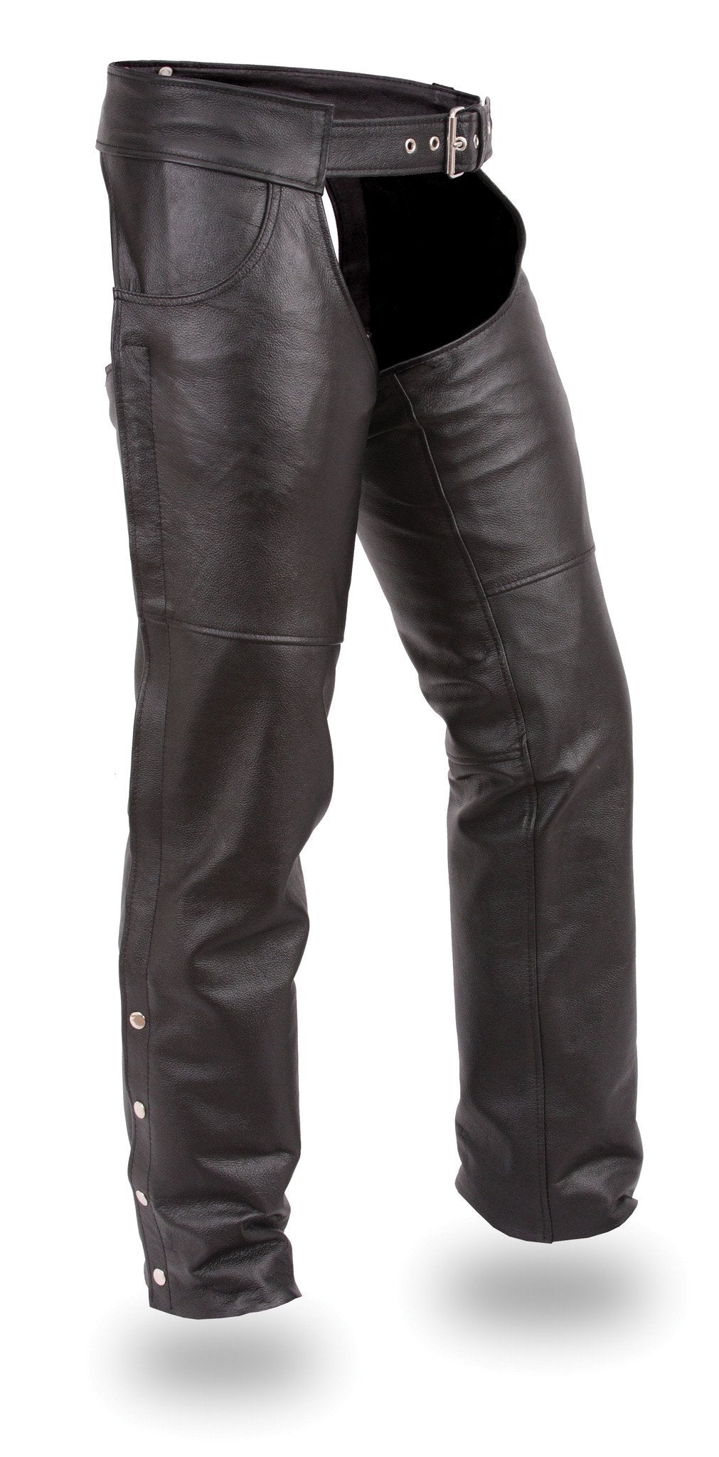 Stampede Black Leather Chaps for Men or Women - SKU GRL-FIM835NOC-FM - Ghost Rider Leather