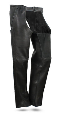 Bully Mens Premium Platinum Leather Motorcycle Chaps - SKU GRL-FIM841CPM-FM - Ghost Rider Leather
