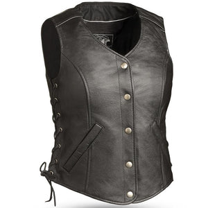 Honey Badger - Women's Biker Leather Motorcycle Riding Vest - Tall Option - SKU GRL-FIL566RCSL-FM - Ghost Rider Leather