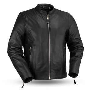 Ace - Clean Cafe Style Men's Leather Jacket - FMM202FBZ - Ghost Rider Leather