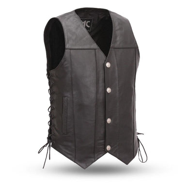 Gun Slinger - Men's Leather Western Vest  - SKU GRL-FMM612BSF-FM - Ghost Rider Leather