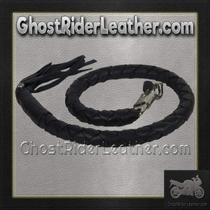 3 Inch Fat Get Back Whip in Black Leather - Motorcycle Accessories - SKU GRL-GBW1-11-T2-DL-get back whip-Ghost Rider Leather