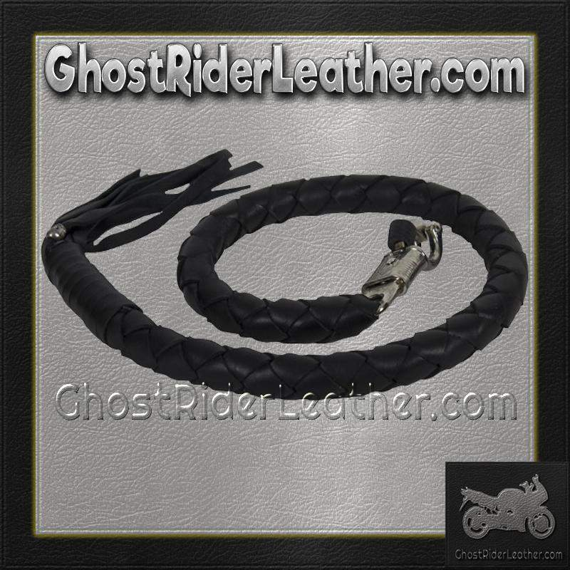 3 Inch Fat Get Back Whip in Black Leather - Motorcycle Accessories - SKU GRL-GBW1-11-T2-DL - Ghost Rider Leather