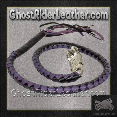 Get Back Whip in Black and Purple Leather - Motorcycle Accessories - SKU GRL-GBW10-11-DL-get back whip-Ghost Rider Leather