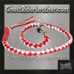 Get Back Whip in Red and White Leather - Motorcycle Accessories - SKU GRL-GBW12-11-DL-get back whip-Ghost Rider Leather