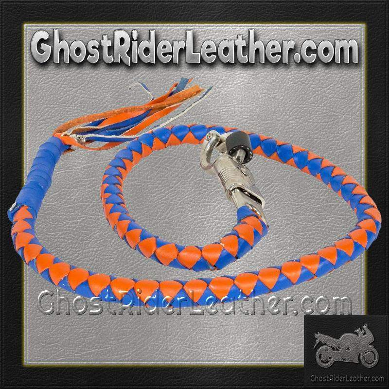 Get Back Whip in Blue and Orange Leather - Motorcycle Accessories - SKU GRL-GBW14-11-DL-get back whip-Ghost Rider Leather